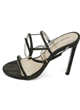 Stuart Weitzman Black and Gold Sandals 2