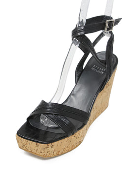 Stuart Weitzman Black Pressed Leather Cork Wedges 1