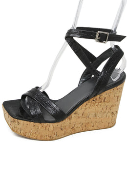 Stuart Weitzman Black Pressed Leather Cork Wedges 2