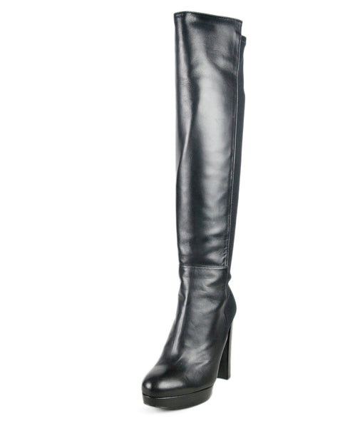 Stuart Weitzman Black Leather Elastane Boots