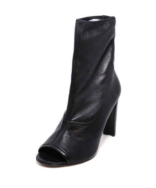 Stuart Weitzman Black Leather Peep Toe Booties 1