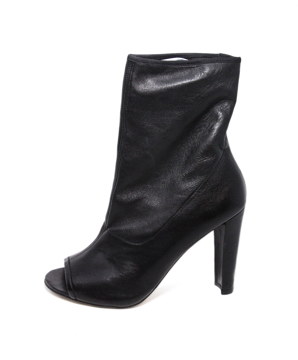 Stuart Weitzman Black Leather Peep Toe Booties 2