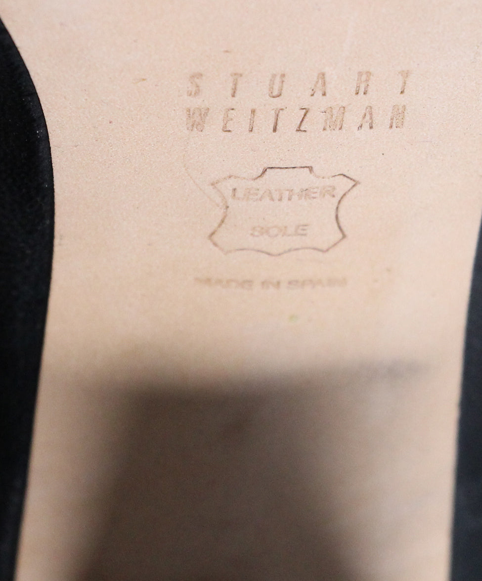 Stuart Weitzman Black Leather Peep Toe Booties 6