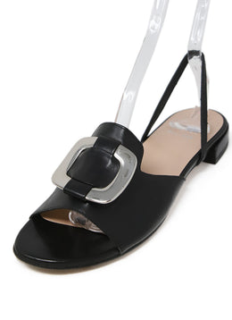 Stuart Weitzman Black Leather Sling Back Sandals with Silver Buckle Detail 1
