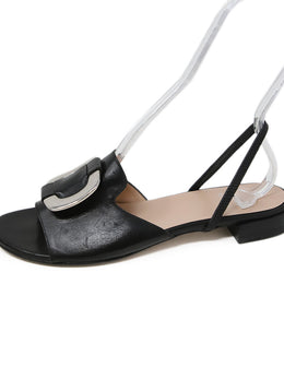 Stuart Weitzman Black Leather Sling Back Sandals with Silver Buckle Detail 2