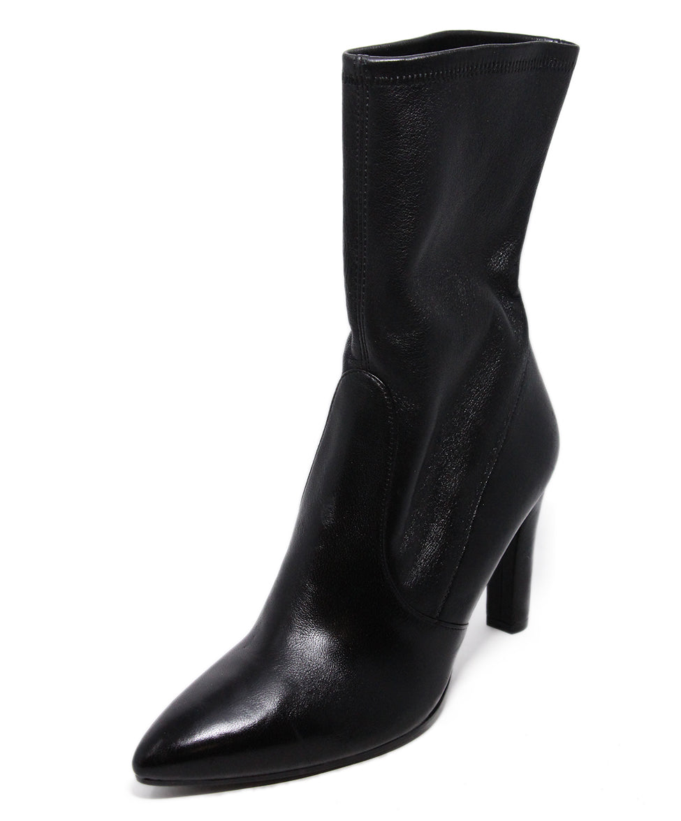 Stuart Weitzman Black Leather Spandex Booties 1