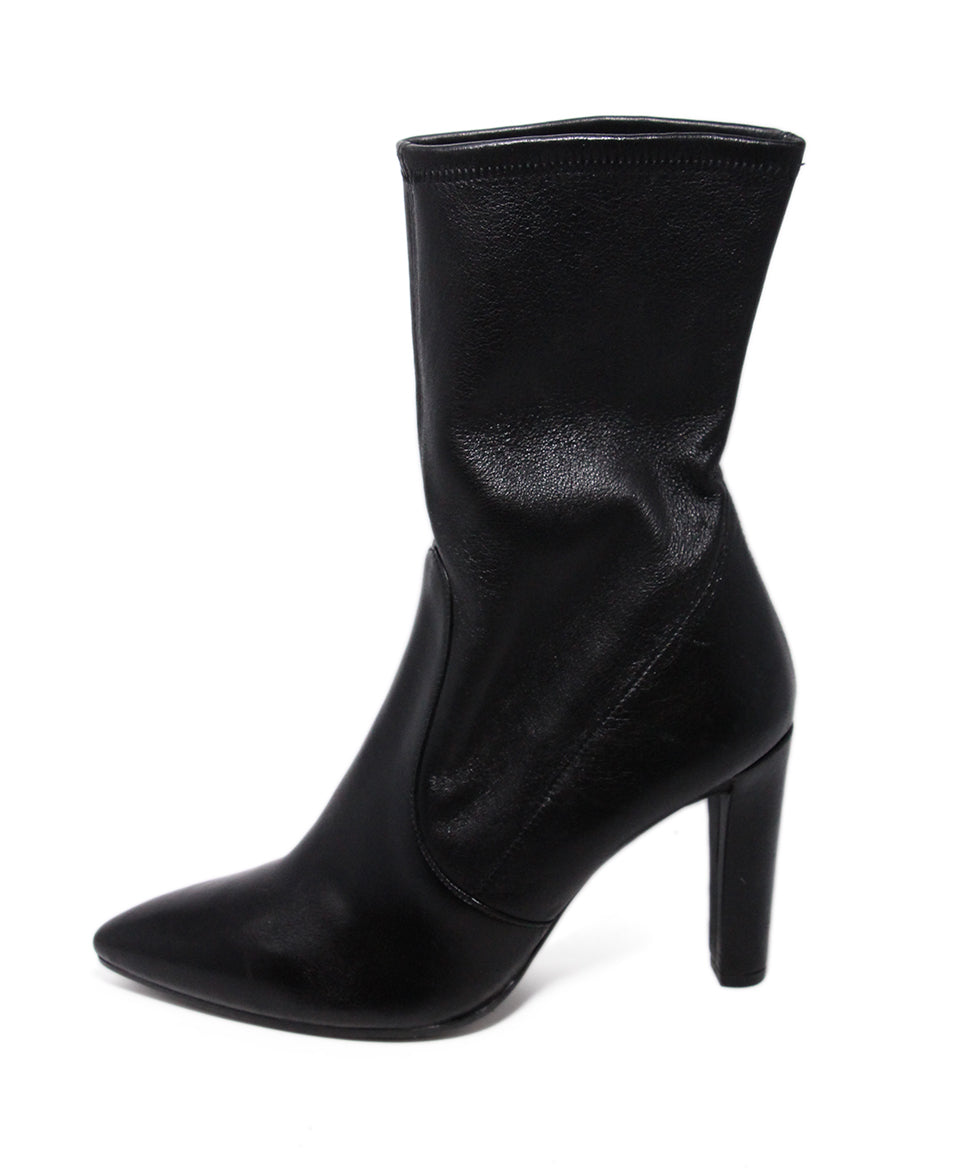 Stuart Weitzman Black Leather Spandex Booties 2