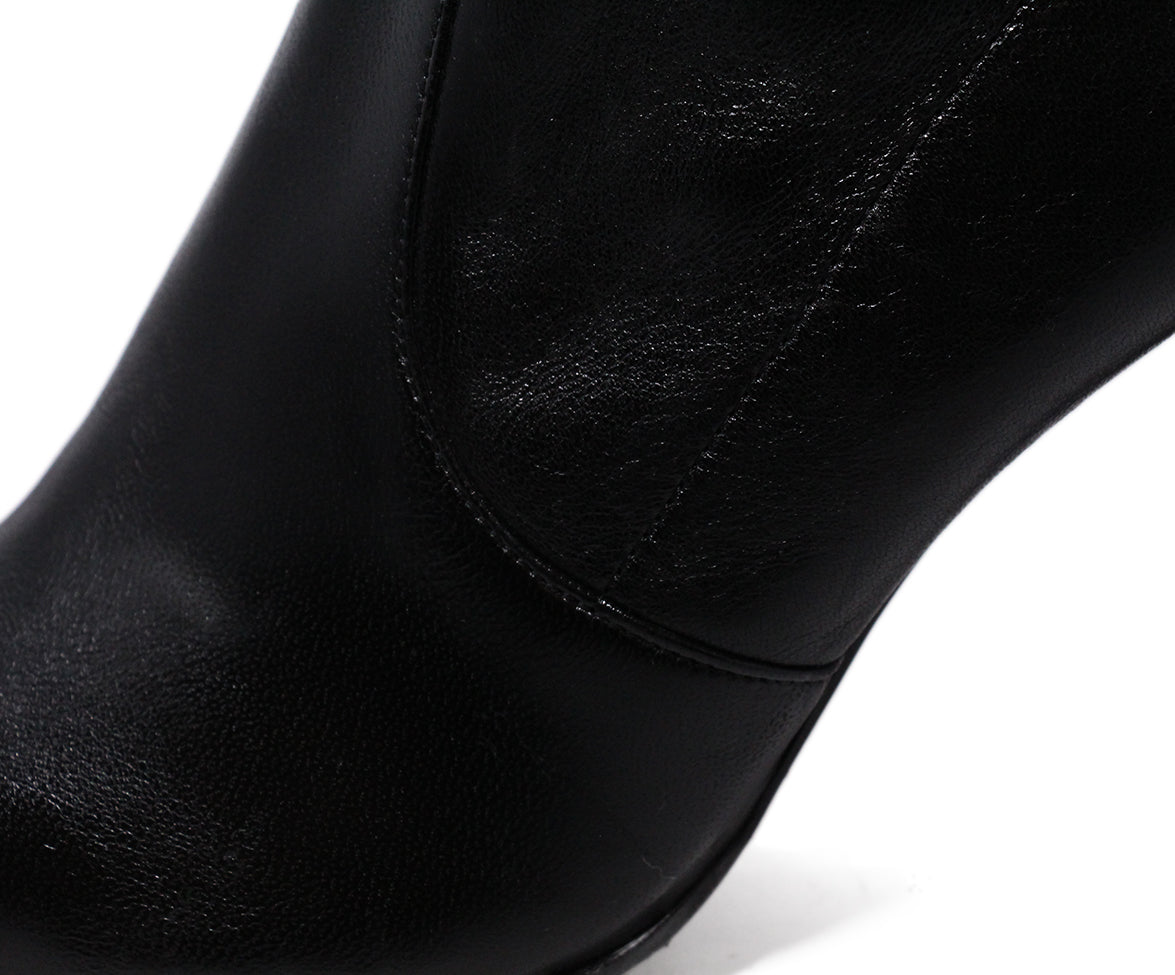 Stuart Weitzman Black Leather Spandex Booties 7