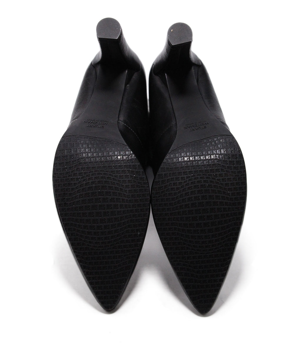 Stuart Weitzman Black Leather Spandex Booties 5