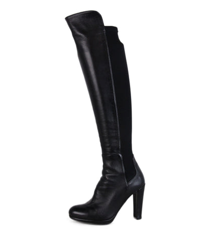 Stuart Weitzman Black Leather Spandex Trim Boots 1