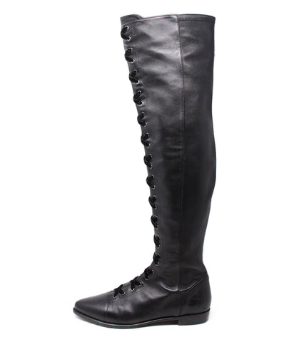 Stuart Weitzman Black Leather Velvet Laces Boots 1