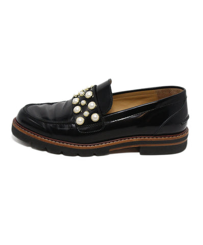 Stuart Weitzman Black Patent Leather Pearl Loafers 1