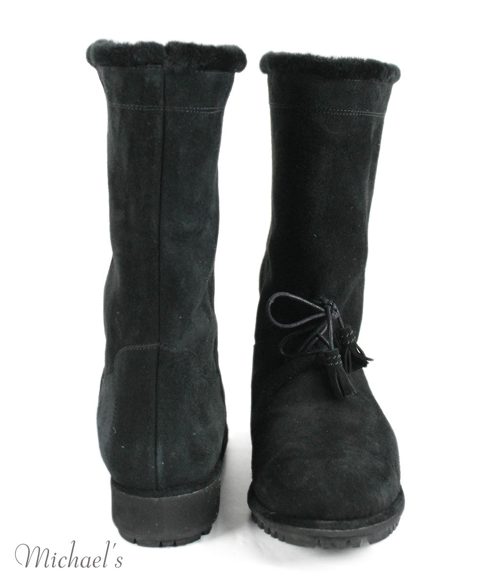 Stuart Weitzman US 10 Black Shearling Boots - Michael's Consignment NYC  - 3