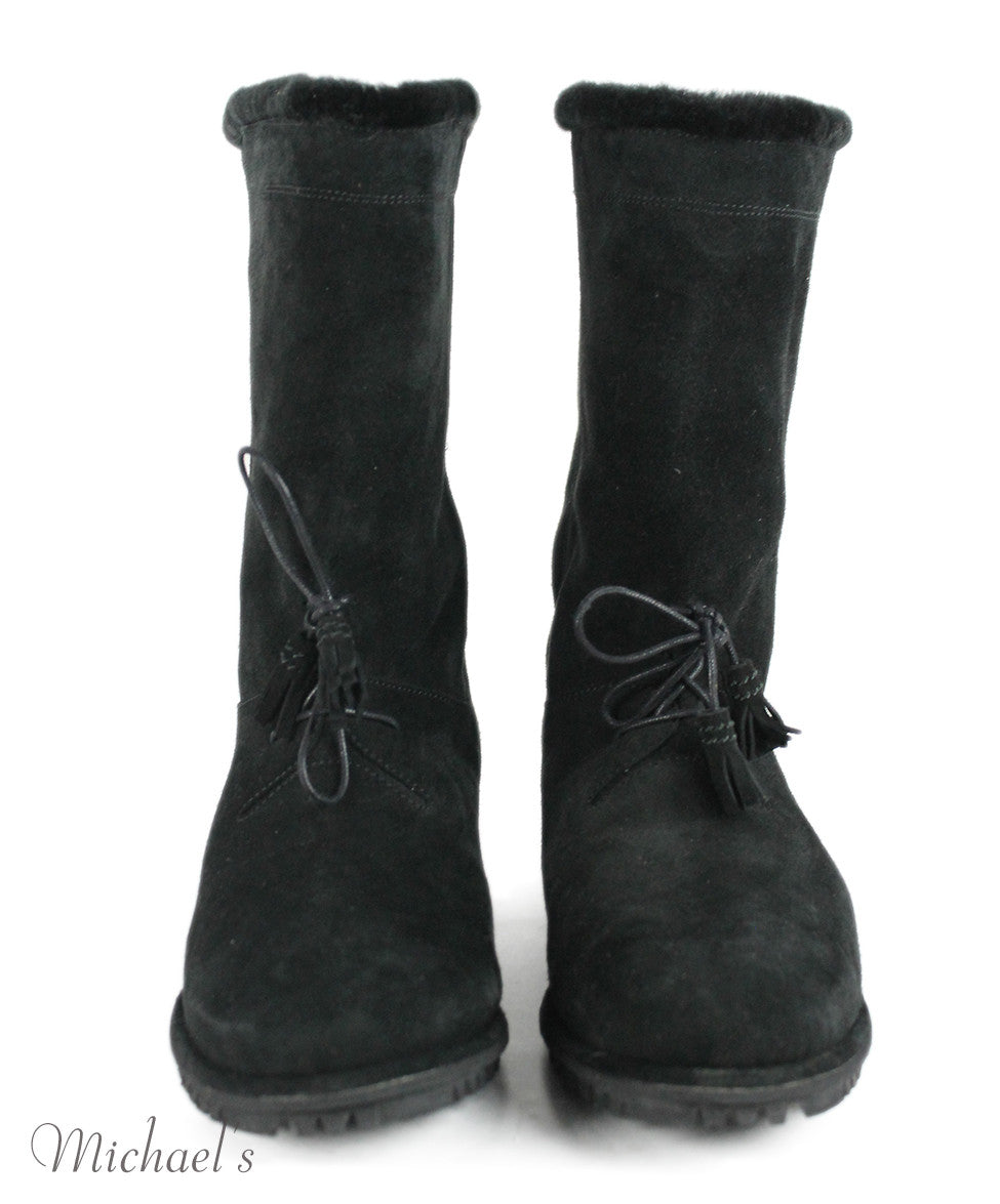 Stuart Weitzman US 10 Black Shearling Boots - Michael's Consignment NYC  - 4