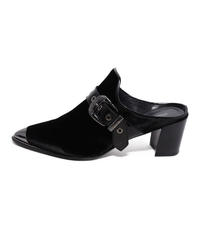 Stuart Weitzman Black Velvet Buckle trim shoes 1