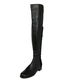 Stuart Weitzman Black Leather Elastic Trim Boots 1