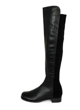 Stuart Weitzman Black Leather Elastic Trim Boots 2