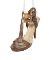 Stuart Weitzman Brown Orange Snake Skin Sandals 1