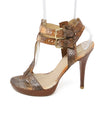 Stuart Weitzman Brown Orange Snake Skin Sandals 2