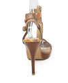 Stuart Weitzman Brown Orange Snake Skin Sandals 3