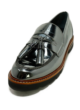 Stuart Weitzman Metallic Pewter Leather Loafers 1