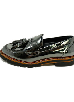 Stuart Weitzman Metallic Pewter Leather Loafers 2