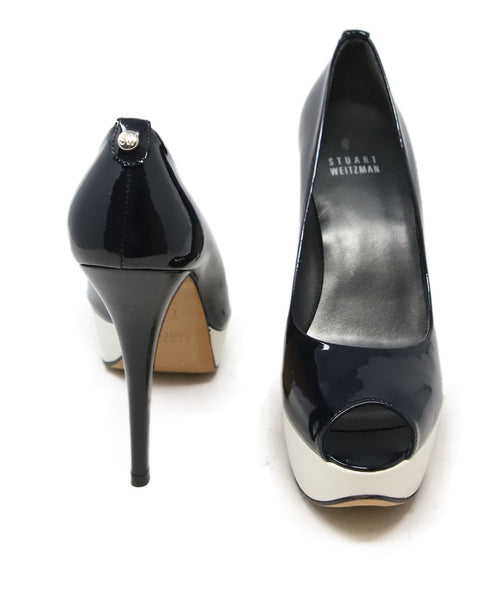 Stuart Weitzman Black and White Patent Leather Pump Heels 3