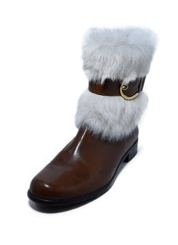 Stuart Weitzman Brown Leather White Fur Trim Booties 1