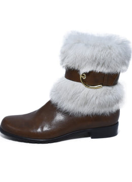Stuart Weitzman Brown Leather White Fur Trim Booties 2