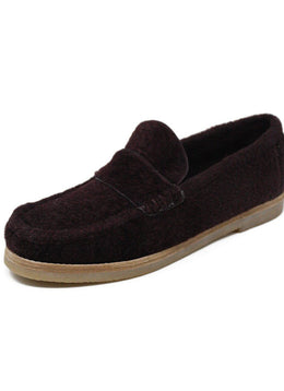 "Stuart Weitzman ""Bromeley"" Burgundy Shearling Wool Loafers Sz 39.5"
