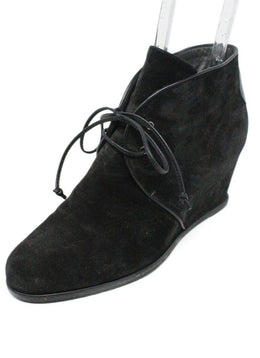 Stuart Weitzman Black Suede Lace Up Booties 1