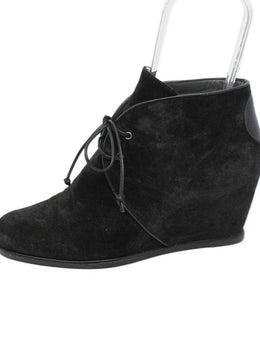 Stuart Weitzman Black Suede Lace Up Booties 2