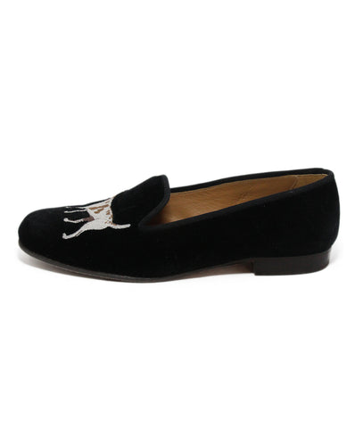 Stubbs & Wootton Black Velour Dogs Flats 1