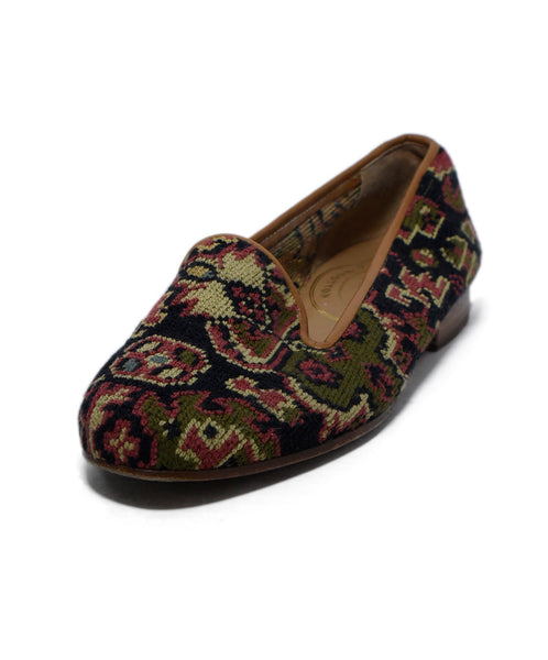 Stubbs & Wootton Black Red Needlepoint Olive Flats 1