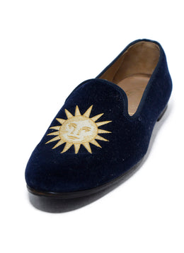 Stubbs & Wootton Moon and Sun Blue Navy Velour Flats Sz. 42 | Stubbs & Wootton