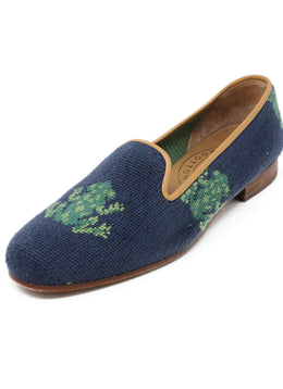 Stubbs & Wootton Green Loafers with Navy Frog Needlepoint Design Sz 7.5