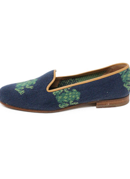Stubbs & Wootton Green Navy Needlepoint Shoes 1