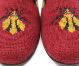 Stubbs & Wootton Red Loafers with Yellow Bug Needlepoint Sz 7.5
