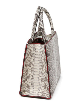 S'uvimol Brown Beige Snake Skin Red Lining Satchel