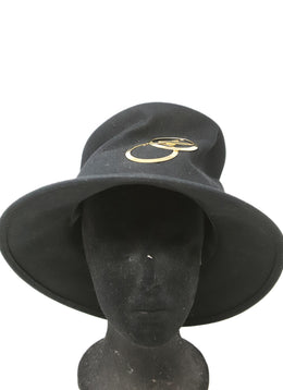 Suzanne Black Felt Hat with Gold Detail 1