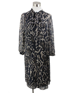 Tahari Black Taupe Leopard Print Silk W/Slip Dress 1