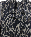 Tahari Black Taupe Leopard Print Silk W/Slip Dress 8