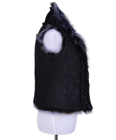 Tahari Black Shearling purple fur vest 1