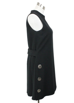 Tahari Black Triacetate Silver Button Trim Dress 2
