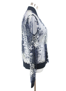 Tahari Navy Blue Jacket with Floral Embroidery Design 2
