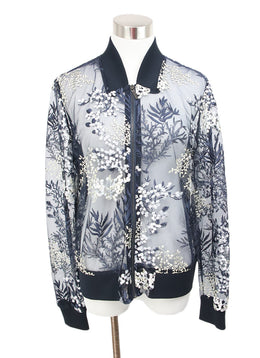 Tahari Navy Blue Jacket with Floral Embroidery Design 1