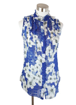 Tahari Blue White Floral Print Sheer Silk Viscose Top 1