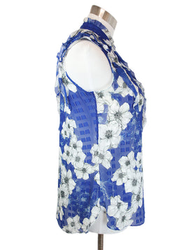 Tahari Blue White Floral Print Sheer Silk Viscose Top 2