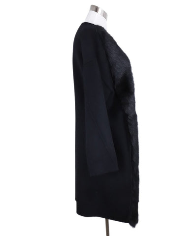 Tahari Black Wool Shearling Coat 1