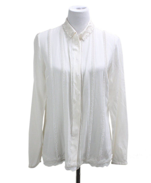 Tahari White Silk Pearls Top sz 4